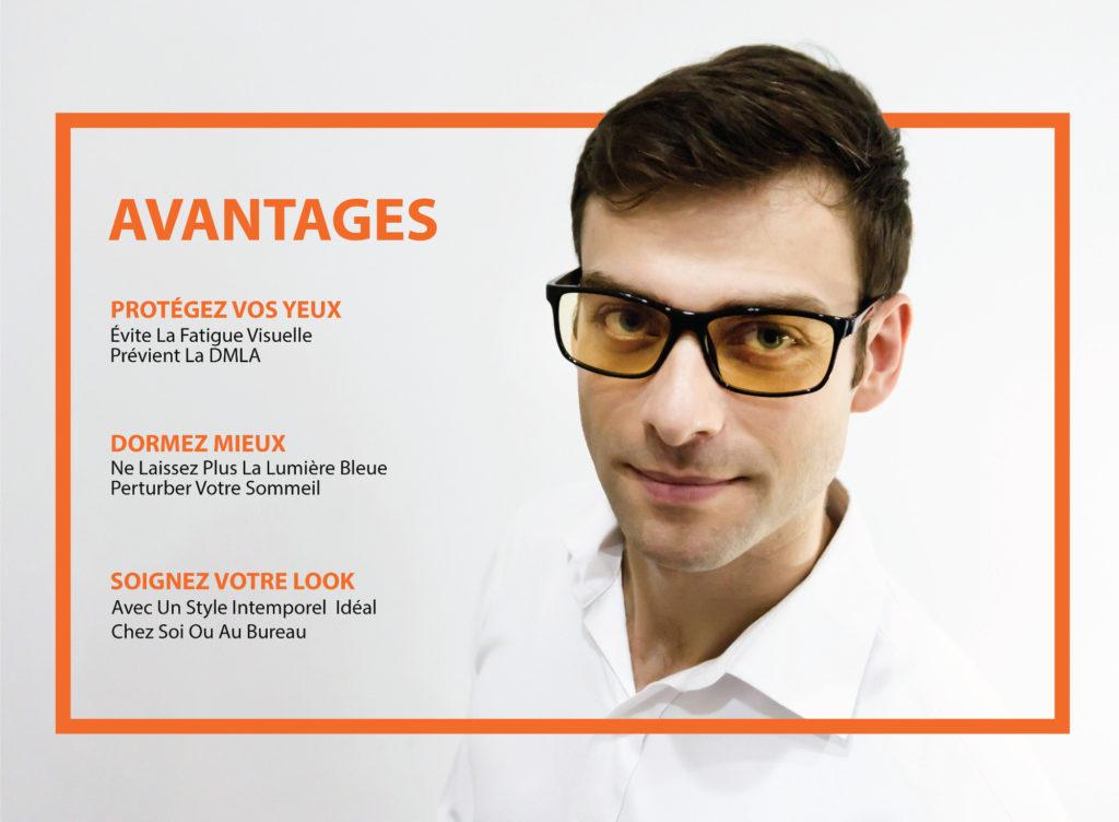 Avantages lunettes anti lumiere bleue
