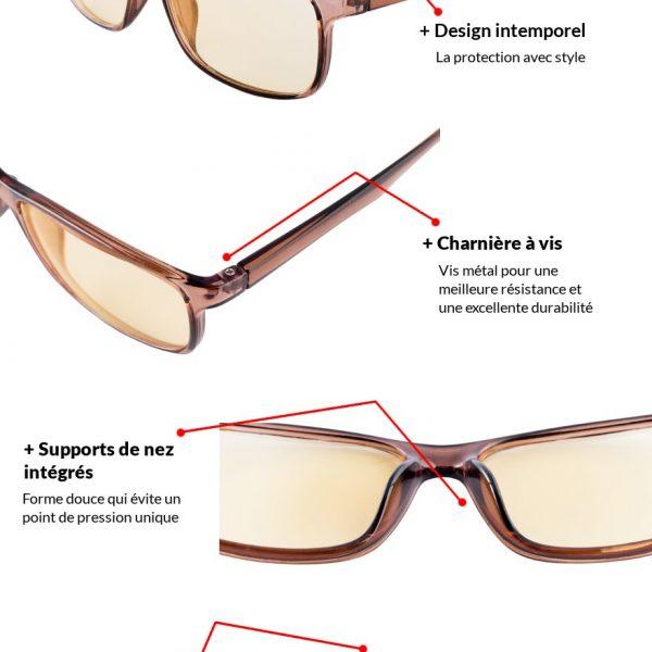 Lunettes pour écrans - Protection des yeux - Modèle California Marron